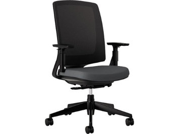 Hon Lota Series Mesh Mid-Back Work Chair, Charcoal Fabric, Black Base