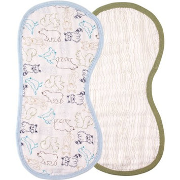 Baby Vision Touched by Nature Organic Muslin Burp Cloth 2 Pack - Boy Woodland