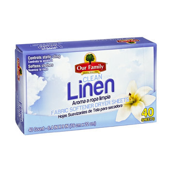 Our Family Clean Linen Scent Fabric Softener Dryer Sheets - 40 CT