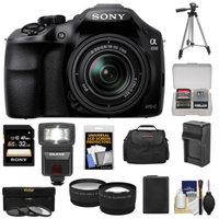 Sony Alpha A3000 Digital Camera & 18-55mm Lens with 32GB Card + Battery + Case + Flash + Tripod + Lenses Kit