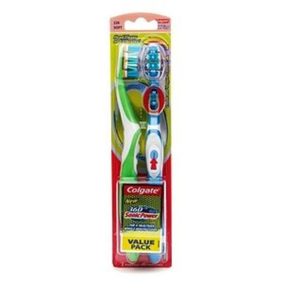 Colgate 360 Degree ActiFlex SonicPower Powered Toothbrushes, Twin Pack, 2 ea