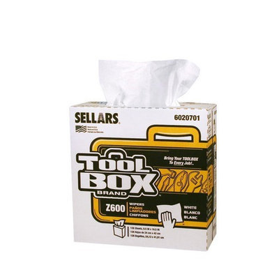 TOOLBOX Cleaning Wipes Z600 Interfold Wipers (126-Count; 8 Boxes Per Case; 1,008 Sheets Per Case) Color: White 6020701
