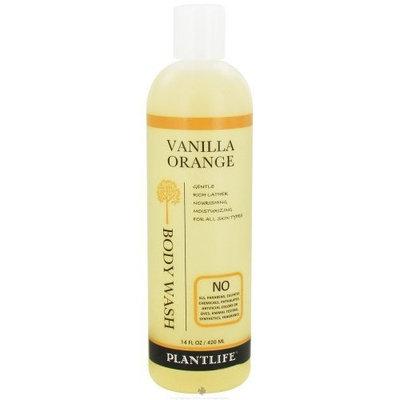 Plantlife Vanilla Orange Body Wash (or Shower Gel)- 14 fl oz- made with organic ingredients and 100% pure essential oils