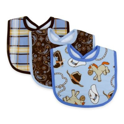 Trend Lab 3 Pack Nursery Infant Toddler Boys Girls Kid Lunch Feeding Saliva Towel CowBoys Baby Bib