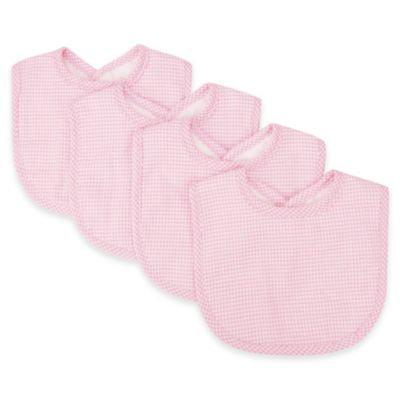 Trend Lab Bouquet 4 Pack Bib - Gingham Seersucker Pink - 102134