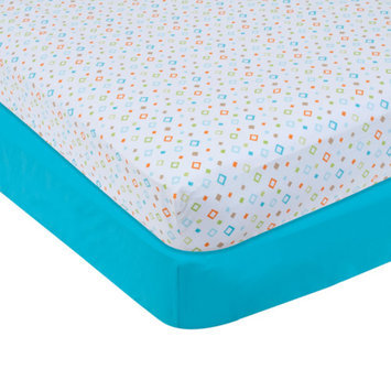 Garanimals Set of 2 Full-Size Fitted Crib Sheets, Turquoise