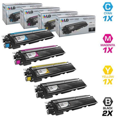LD Brother Compatible TN-210 Set of 5 HY Toner Cartridges: 2 TN210BK & 1 TN210C, TN210M, & TN210Y for DCP-9010CN, HL-3040CN, 3045CN, 3070CW, 3075CW, MFC-9010CN, 9120CN, 9125CN, 9320CN, 9320CW, 9325CW