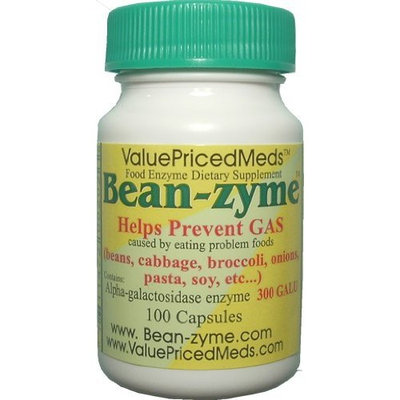 ValuePricedMeds Bean-zyme Anti-Gas Digestive Aid, 100 Capsules, Food Enzyme Dietary Supplement