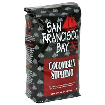 San Francisco Bay Coffee San Franscisco Bay Coffee Columbian Supremo Whole Bean, 12 Ounce