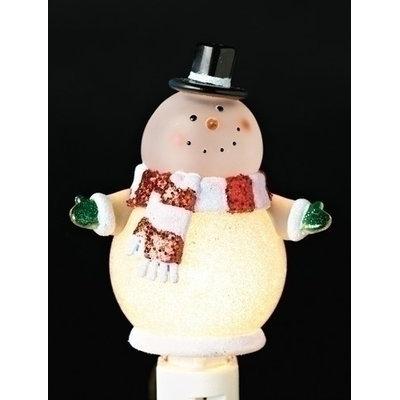 Roman 6 Christmas Whimsy Glitter Accent Goofy Snowman Night Light
