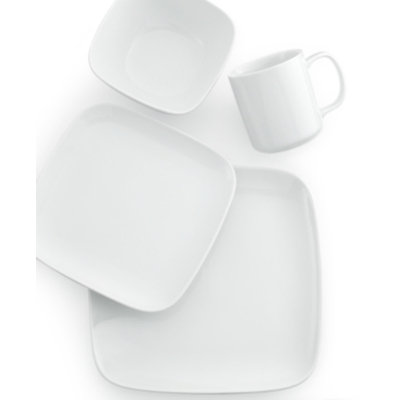 The Cellar Whiteware Soft Square 4-Piece Place Setting