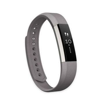 Fitbit 'Alta' Leather Fitness Tracker Accessory Band, Size Large - Grey