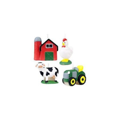 Birthday In A Box Wilton FARM CANDLE SET Barn Cow Tractor Rooster Party