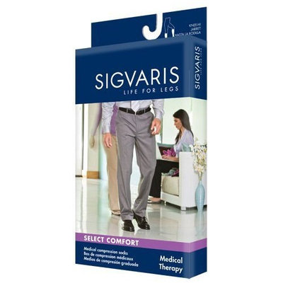 Sigvaris 860 Select Comfort Series 20-30 mmHg Men's Closed Toe Thigh High Sock Size: S2, Color: Khaki 30