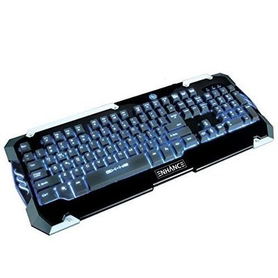 Accessory Power ENHANCE GX-K2 LED Gaming Keyboard with Hybrid Switches , 104 Keys & 3 Switchable Backlight Colors - Works with Call of Duty: Black Ops 3 , Counter-Strike: Global Offensive , Fallout 4 & more PC games