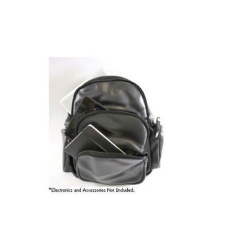 Royce Leather Expandable Laptop Backpack - Black Leather - 627-5