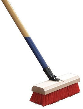 HARPER 561912A42 Deck Scrub Brush,12in, Wood, Red, Synthetic