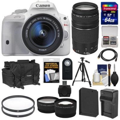 Canon EOS Rebel SL1 Digital SLR Camera & EF-S 18-55mm IS STM Lens (White) with 75-300mm III Lens + 64GB Card + Battery + Case + Tele/Wide Lenses + Tripod Kit
