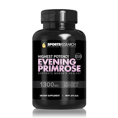 Sports Research Evening Primrose Oil 1300mg 120 Liquid Softgels, Cold-Pressed with No fillers or Artificial Ingredients; Non-GMO & Gluten Free, Made in the USA