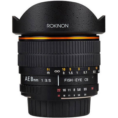 Rokinon 8mm F3.5 Fisheye Lens for Nikon AE with Automatic Chip