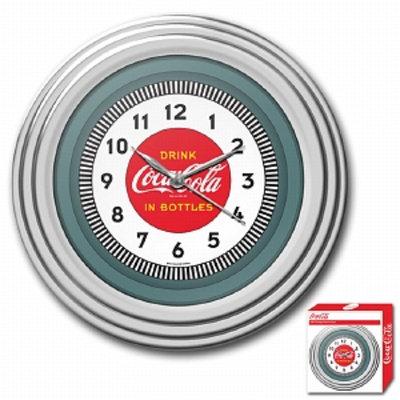 Trademark Global Coca-Cola Clock, 1930's Style, Chrome Finish, 11.75 inches, 1 ea