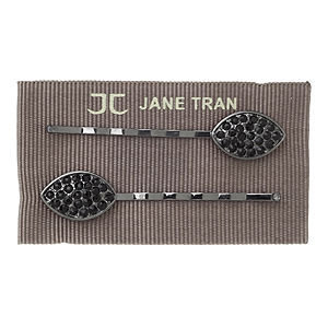 Jane Tran Hair Accessories Oval Rhinestone Black Bobby Pin