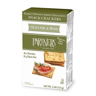 Partners All Natural Crackers, Olive Oil and Herb, 4-Ounce Boxes (Pack of 6)