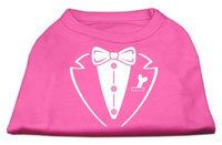 Mirage Pet Products 5179 LGBPK Tuxedo Screen Print Shirt Bright Pink Lg 14