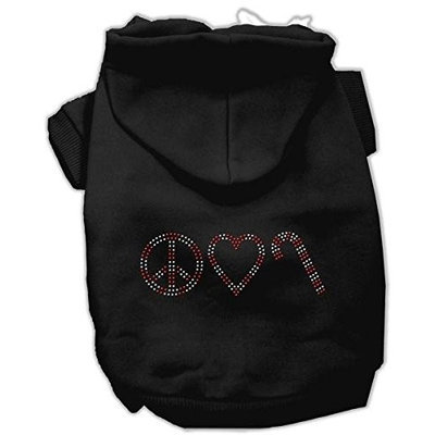 Mirage Pet Products 542508 LGBK Peace#44; Love and Candy Canes Hoodies Black L 14