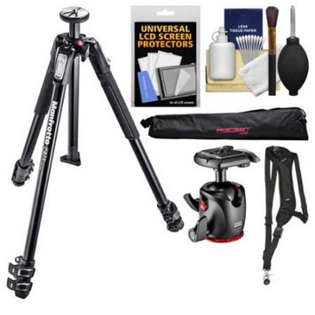 Manfrotto 190X 3-Section Aluminum Tripod & XPRO Ball Head with Case + Sling Strap + Kit