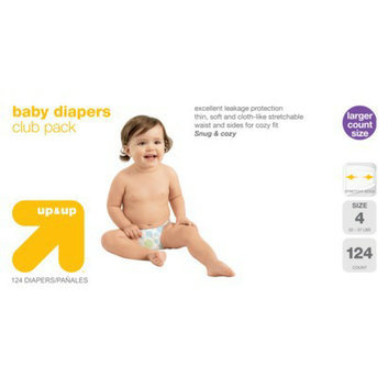 up & up Diapers Club Box - Size 4 (124 Count)