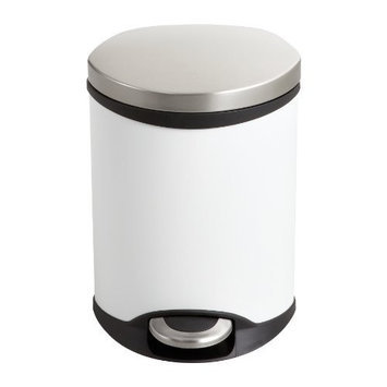 Safco Products Ellipse Step-On Waste Receptacle, 1-1/2 Gallon, White, 9900WH
