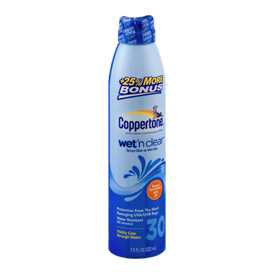 Coppertone Sunscreen Continuous Spray Wet 'n Clear SPF 30