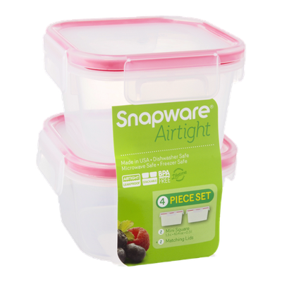 Snapware Airtight Mini Square/Matching Lids - 4 Piece
