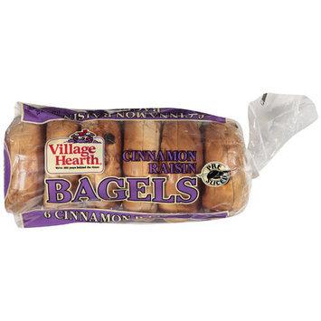 Village Hearth Cinnamon Raisin Bagels, 24 oz