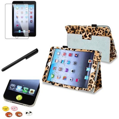 Insten iPad Mini 3/2/1 Case, by INSTEN Black/Brown Leopard PU Leather Folio Stand Sleep Wake Case+Stylus for iPad Mini 1/2/3