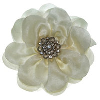 RIVIERA, A STYLEMARK CO Women's Riviera Flower Clip with Stones - White