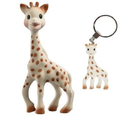 Vullli Sophie the Giraffe Teether and Sophie the Giraffe Keychain with Reusable Dainty Baby Bag Bundle