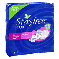 Stayfree Maxi Super Long with Wings Jumbo Pack Pads- 45 CT