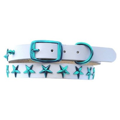 Platinum Pets White Genuine Leather Dog Collar with Stars - Teal (17