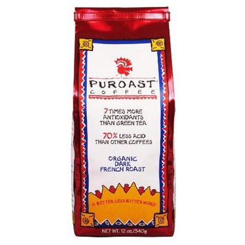 Puroast Low Acid Coffee Organic French Roast Whole Bean, 12 oz. Bag (Pack of 2)