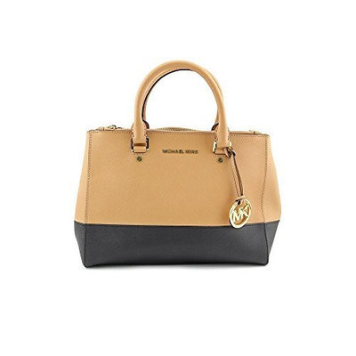 MICHAEL Michael Kors Sutton Dressy Medium Colorblock Satchel Suntan Black