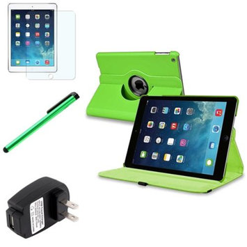 Insten INSTEN Green 360 Leather Case Cover+Matte Protector/Stylus/Wall For Apple iPad Air 5 5th Gen