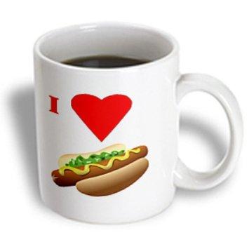 Recaro North 3dRose - Florene Food n Beverage - I Love Hot Dogs - 11 oz mug