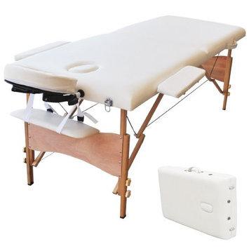 Auwit Professional Portable 2 Foam Folding Massage Table w/Face Cradle & Sheet-White