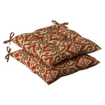 Pillow Perfect Outdoor 2-Piece Tufted Chair Cushion Set - Tan/Orange Geometric