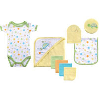 Luvable Friends Newborn Boys' 9 Piece Bath Time Set - Blue 0-6M