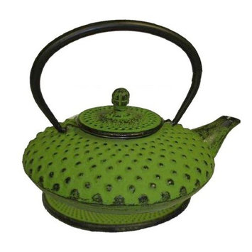 Chefgadget Lime Green Cast Iron Teapot With Trivet, 20 Oz Capacity