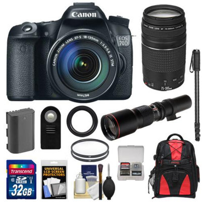 Canon EOS 70D Digital SLR Camera & EF-S 18-135mm IS STM Lens with 75-300mm III & 500mm Lenses + 32GB Card + Battery + Backpack + Filters + Monopod + Accessory Kit