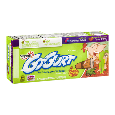 GO-GURT® Portable Low Fat Yogurt Phineas And Ferb Summer Punch Perry Berry
